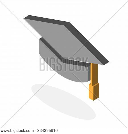 Graduated Hat Icon. Isometric Of Graduated Hat Vector Icon For Web Design Isolated On White Backgrou