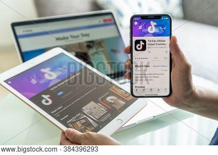 Pattaya, Thailand - 30 August, 2020: Tik Tok App, Tiktok Social Media Network Of Global Video  Commu