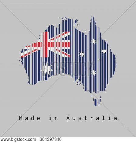 Barcode Set The Shape To Australia Map Outline And Flag, Blue Red And White Color With Star And Unio