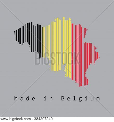 Barcode Set The Shape To Belgium Map Outline And Flag Color On Grey Background, Text: Made In Belgiu