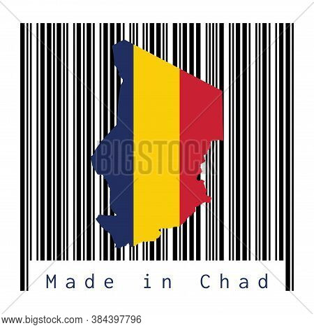 Map Outline And Flag Of Chad On Black Barcode With White Background, Text: Made In Chad. Concept Of