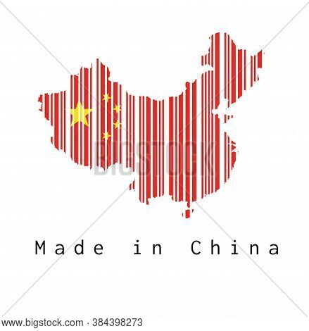 Barcode Set The Shape To China Map Outline And The Color Of China Flag On White Background With Text