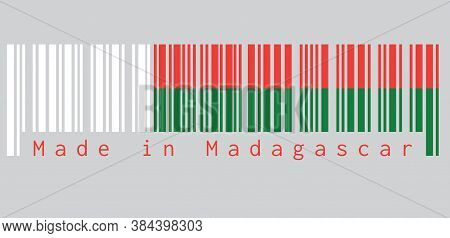 Barcode Set The Color Of Madagascar Flag, Two Horizontal Bands Of Red And Green With A White Vertica