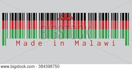 Barcode Set The Color Of Malawi Flag, Black Red And Green; Charged With A Red Rising Sun Centred On