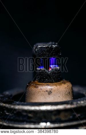 Macro View Of Working Old Spark Plug