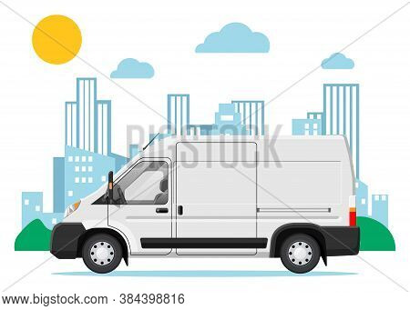 White Delivery Van At Cityscape Background. Express Delivering Services Commercial Truck. Concept Of