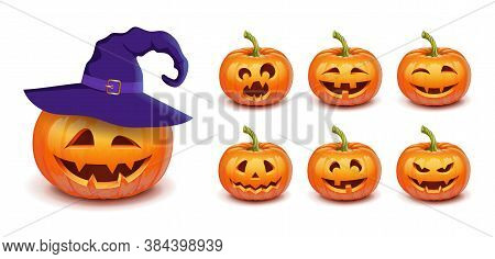 Set Pumpkin On White Background. The Main Symbol Of The Happy Halloween Holiday. Orange Pumpkin With