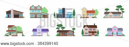Cottage Houses. Front View Modern Suburban Home, Countryside Townhomes And Cottages Facades, Archite