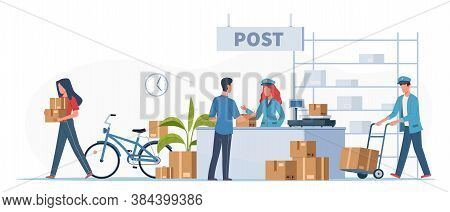 Post Delivery Office. Postmen, Courier With Truck And People With Boxes And Letters In Post Receptio