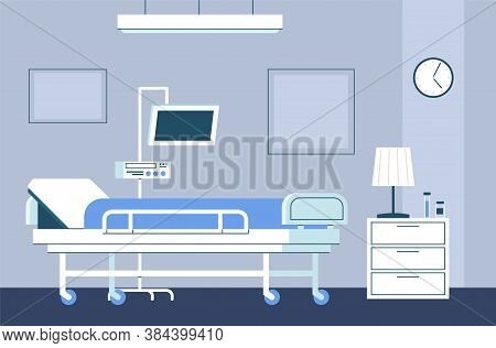 Hospital Room Interior. Modern Intensive Therapy Ward With Bed On Wheels And Medical Equipment Emerg