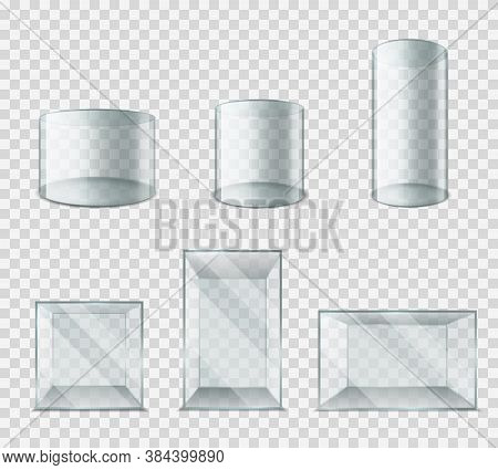 Glass Box. Plastic Cube With Glossy Glare Reflections, Cylinder Blank Exhibition Showcase 3d Realist