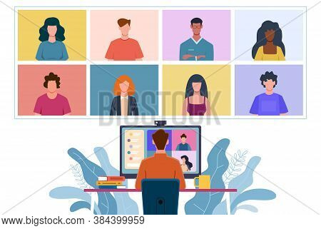 Virtual Meeting. Collective Home Video Conference, Man Chatting Online With People. Discussion With