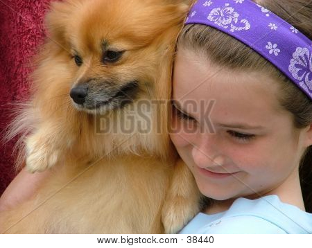 poster of kids models, dog cuddles