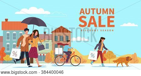 Autumn Sale. Special Fall Offer, People With Shopping Bags And Umbrellas In City Among Yellow Orange