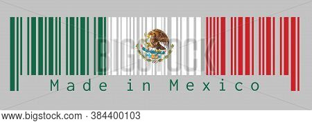 Barcode Set The Color Of Mexico Flag, A Vertical Tricolor Of Green White And Red With The Nation Coa