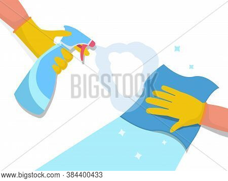 Disinfection And Cleaning Concept With A Gloved Hand Spraying Anti-bacterial Spray From An Atomiser