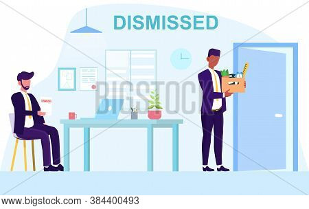 The Concept Of Job Search And Employment. A Young Dismissed Employee Of The Office Manager Leaves Th