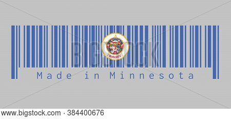 Barcode Set The Color Of Minnesota Flag. State Seal On A Medium Blue Field. Text: Made In Minnesota.