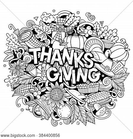 Happy Thanksgiving Hand Drawn Cartoon Doodles Illustration. Holiday Funny Objects And Elements Poste