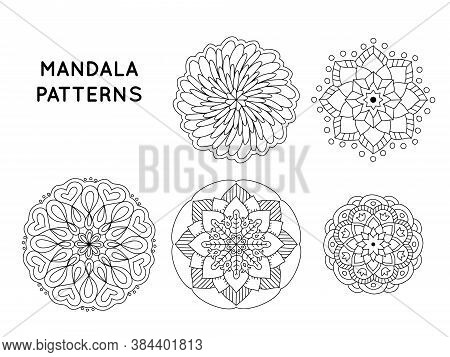 Flower Mandala Outline Patterns For Coloring Books