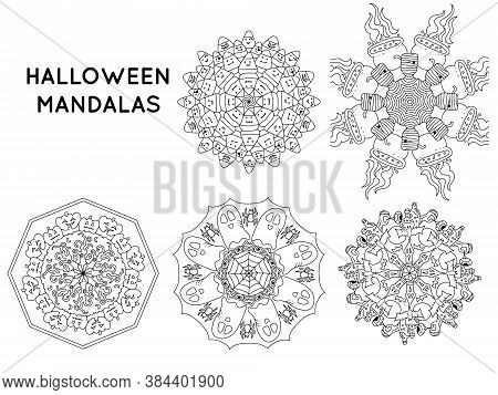 Halloween Mandala Outline Patterns For Coloring Books