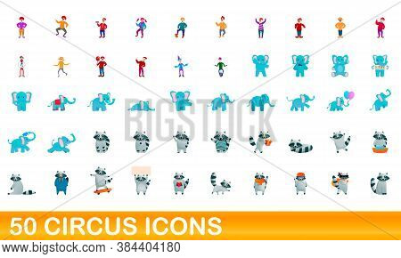 50 Circus Icons Set. Cartoon Illustration Of 50 Circus Icons Vector Set Isolated On White Background