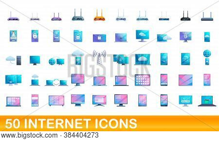 50 Internet Icons Set. Cartoon Illustration Of 50 Internet Icons Vector Set Isolated On White Backgr
