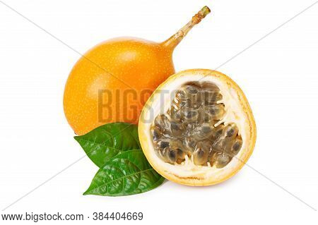 Granadilla Or Yellow Passion Fruit With Green Leaves Isolated On White Background. Exotic Fruit. Ful