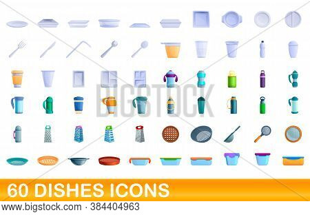 60 Dishes Icons Set. Cartoon Illustration Of 60 Dishes Icons Vector Set Isolated On White Background