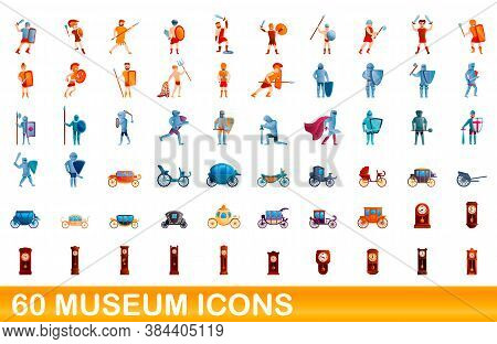 60 Museum Icons Set. Cartoon Illustration Of 60 Museum Icons Vector Set Isolated On White Background