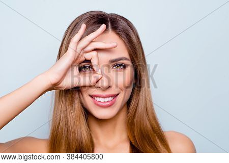Close-up Portrait Of Nice Lovely Sweet Fascinating Attractive Cheerful Optimistic Lady Showing Ok-si