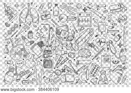 Medicine Doodle Set. Collection Of Hand Drawn Sketches Templates Patterns Of Treatment Pills Syringe