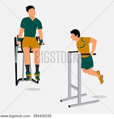 Men Doing Triceps Dip On Parallel Bars.professional Male Sportsmen Training On Parallel Bars.