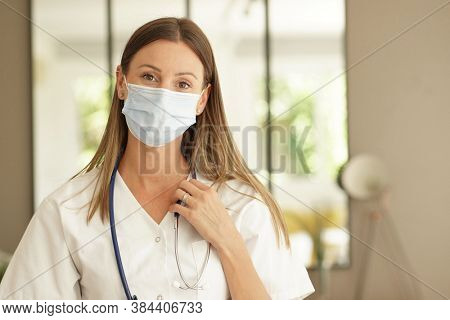 Portrait of nurse wearing face mask