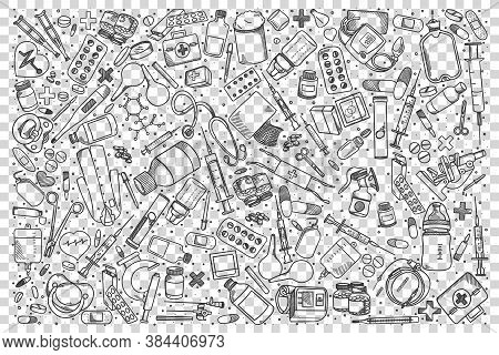 Pharmacy Doodle Set. Collection Of Hand Drawn Sketches Templates Patterns Of Pills Syringe Pharmacol