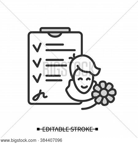 Recovered Patient Icon. Happy Healthy Immune Person With Hospital Dismissal Papers Linear Pictogram.