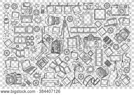 Photo Doodle Set. Collection Of Hand Drawn Sketches Templates Of Photographing Art Equipment Camera