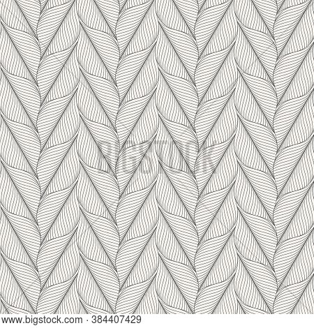 Linear Vector Pattern, Repeating Abstract Skeleton Leaves Vertical, Monochrome Stylish. Pattern Is C
