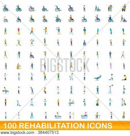 100 Rehabilitation Icons Set. Cartoon Illustration Of 100 Rehabilitation Icons Vector Set Isolated O