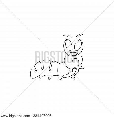 Single Continuous Line Drawing Of Adorable Caterpillar For Company Logo Identity. Serious Agricultur