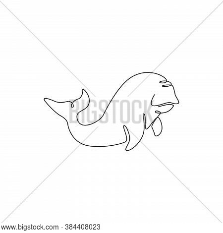 Single One Line Drawing Of Funny Dugong For Nautical Logo Identity. Sea Pig Or Sea  Camel Mascot Con