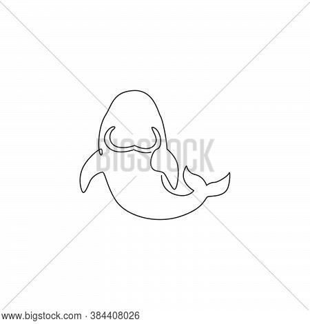 One Continuous Line Drawing Of Cute Dugong For Aquatic Logo Identity. Egyptian Marsa Alam Fish Masco