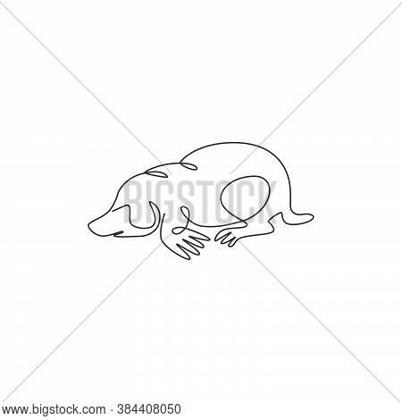 One Continuous Line Drawing Of Cute Lawn Mole For Company Logo Identity. Rodent Animal Mascot Concep