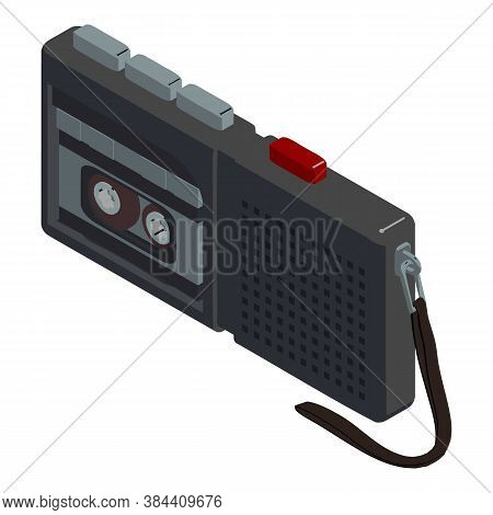 Cassette Dictaphone Icon. Isometric Of Cassette Dictaphone Vector Icon For Web Design Isolated On Wh