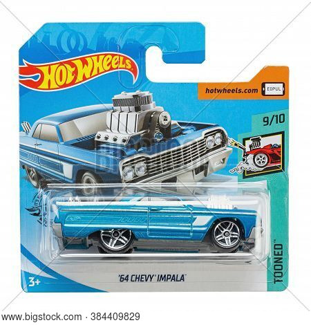 Ukraine, Kyiv - August 26. 2020: Toy Car Model 64 Chevy Impala. Hot Wheels Is A Scale Die-cast Toy C