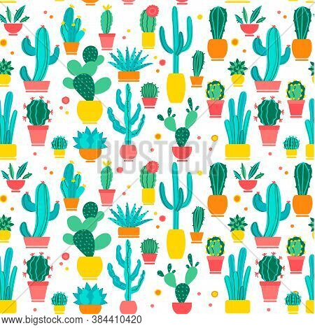 Cacti Seamless Pattern Set. Hand Drawn Doodle. Hand Drawn Doodle Patterns Of Different Shape Cactus