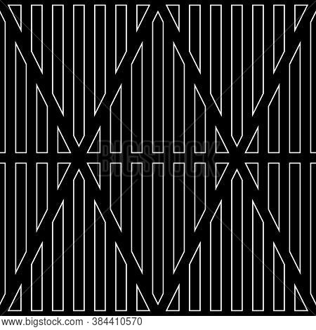 White Vertical Lines Contours On Black Background. Seamless Surface Pattern Design With Linear Ornam