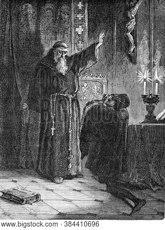 Louis XI at the feet of Saint Francis of Paul, Vintage engraving. From Popular France, 1869.