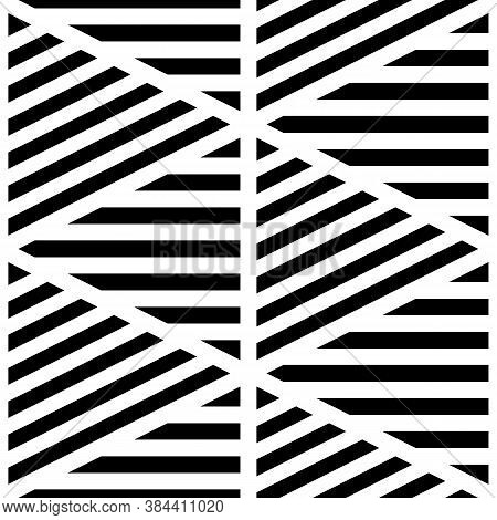 Black Diagonal And Horizontal Lines On White Background. Seamless Surface Pattern Design With Linear