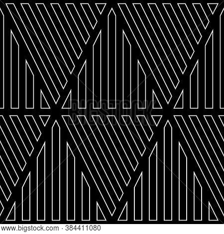 White Diagonal And Vertical Lines Contours On Black Background. Seamless Surface Pattern Design With